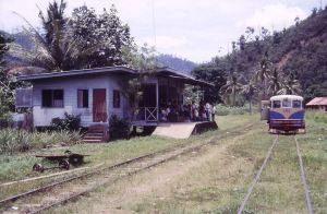 Isn't lovely; a little jungle station (Pangi) with tiny platform full of locals waiting for their train to Tenom.
