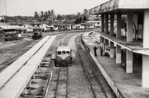 RC 2102 as a train taxi to Tenom is ready for depart at the Beaufort station.