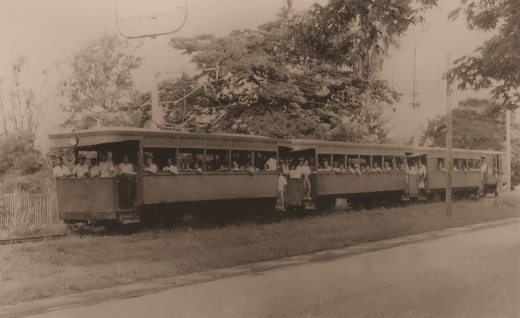 A PKR tram-train along the Rama V Road near the stop Sala Daeng in the fiftees.